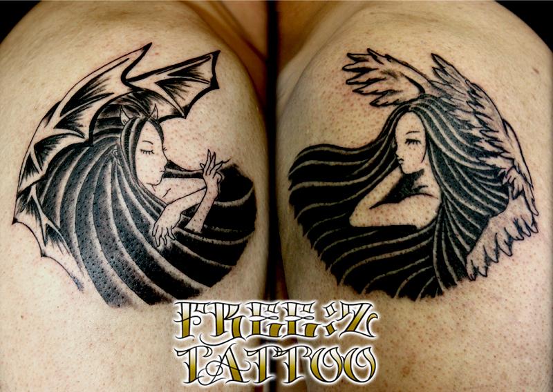 B&Gの天使と悪魔を両肩に タトゥー ブラック&グレイ