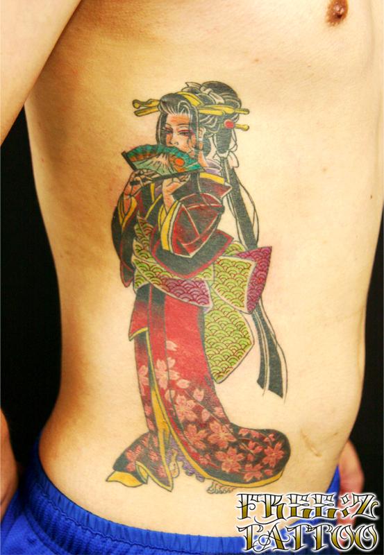 芸者.カラー.和柄.タトゥー.千葉